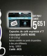 Capsules de café espresso nº7 classique Carte noire offre à
