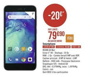 Smartphones REDMI GO noir offre à