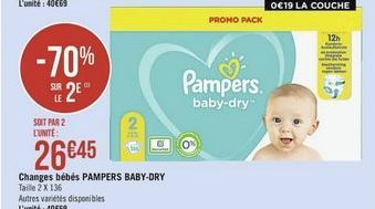 Changes bebes  Pampers baby- dry offre à