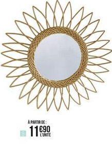 Miroir rotin fleur 38cm offre à