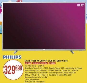 """Smart tv led 43"""" Philips offre à"""