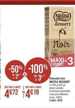 Chocolat noir Nestlé offre à