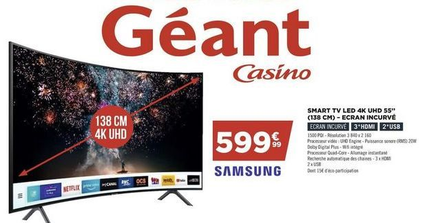 Smart TV LED 4k SAMSUNG offre à