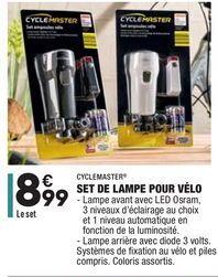 Set de lampe pour vélo offre à 8,99€