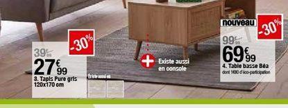 Tapis pure gris 120x170cm offre à 27,99€