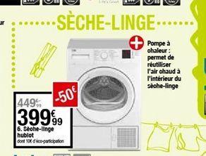 Sèche-linge hoblot offre à 399,99€
