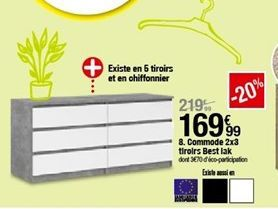Commode 2x3 tiroirs Best lak offre à 169,99€