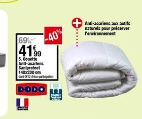 Couette antiacariens saniprotect 140 x 200 cm offre à 41,99€