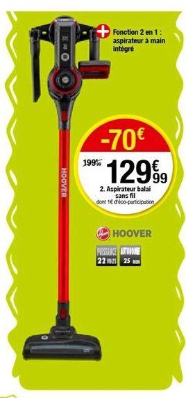 Aspirateur balai sans fil offre à 129,99€