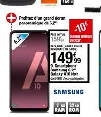 Smartphones Samsung Galaxy A10 noir offre à 149,99€