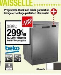 Lave-vaisselle Beko offre à 299,99€