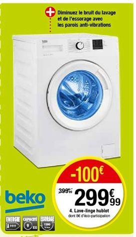Lave-linge hublot offre à 299,99€