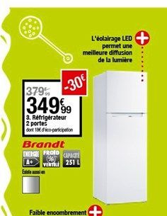 Réfrigérateur 2 portes offre à 349,99€