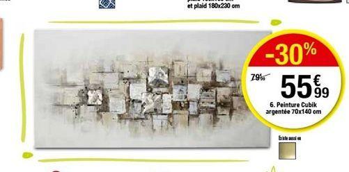 Peinture Cubik argentée 70x140 cm offre à 55,99€