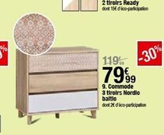Commode 3 tiroirs nordillo baltic offre à 79,99€