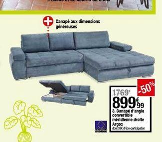 Canapé d'angle convertible meridiene droite Argos offre à 899,99€
