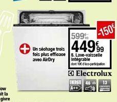 Lave-vaisselle intégrableElectrolux offre à 449,99€