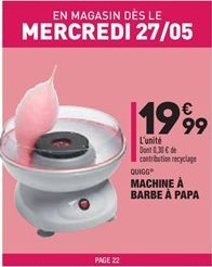 Machine à barbe à papa offre à 19,99€