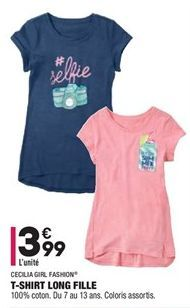 T-shirt long fille offre à 3,99€