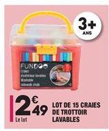 Lot de 15 craies de trottoir lavables offre à 2,49€