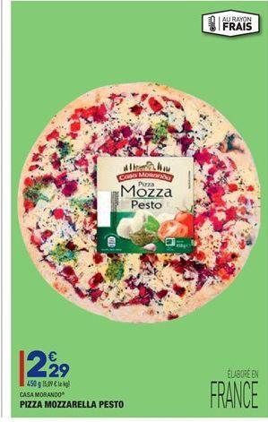Pizza mozarella pesto offre à 2,29€