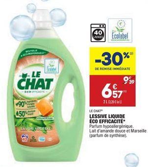 Lessive liquide éco efficacité offre à 6,57€