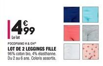 Lot de 2 leggings fille offre à 4,99€