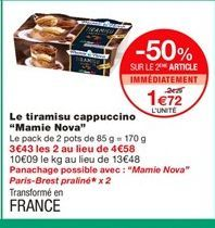 Tiramisu Mamie Nova offre à 1,72€