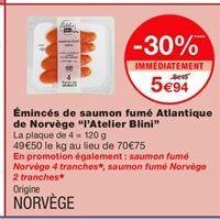Saumon fumé offre à 5,94€