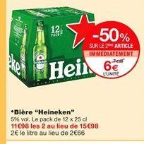 Bière Heineken offre à 6€