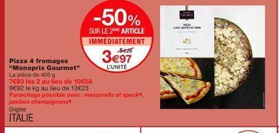 Pizza aux quatre fromages offre à 3,97€
