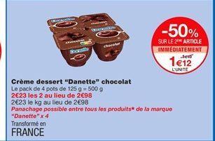Crème dessert Danette chocolat offre à 1,12€