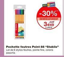 Pochette feutres Ppint 88 Stabilo offre à 3,49€