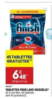 Tablettes pour lave-vaisselle Finish offre à 6,48€