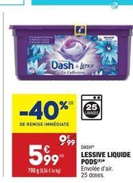 Lessive liquide pods Dash offre à 5,99€