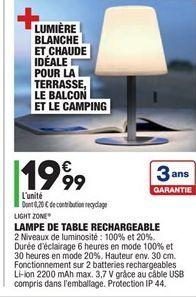 Lampe de table rechargeable offre à 19,99€