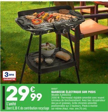 Barbecue électrique sur pieds offre à 29,99€