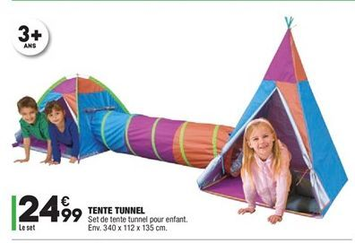 Tente tunnel offre à 24,99€