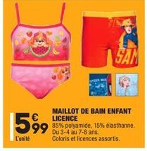 Maillot de bain enfant licence offre à 5,99€