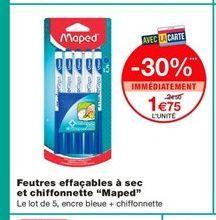 """Feutres effaçables à sec et chiffonnette """"Maped""""  offre à 1,75€"""
