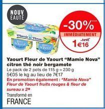 """Yaourt Fleur de Yaourt """"Mamie Nova"""" citron thé noir bergamote offre à 1,16€"""