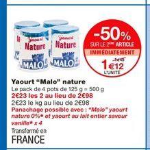 """Yaourt """"Malo"""" nature offre à 1,49€"""