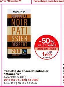 """Tablette de chocolat pâtissier """"Monoprix""""  offre à 1,45€"""