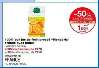 """100% pur jus de fruit pressé """"Monoprix"""" orange avec pulpe offre à 1,39€"""