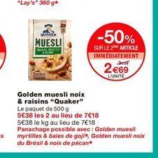"Golden muesli noix & raisins ""Quaker""  offre à 3,59€"