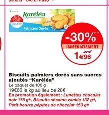 """Biscuits palmiers dorés sans sucres ajoutés """"Karéléa"""" offre à 1,96€"""