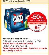 """Bière blonde """"1664""""  offre à 7,99€"""