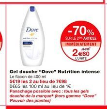 Gel douche Dove offre à 3,99€