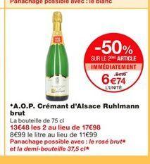 A.O.P. Crémant d'Alsace Ruhlmann brut  offre à 8,99€