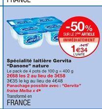 """Spécialité laitière Gervita """"Danone"""" nature offre à 1,79€"""